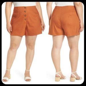 Leith Orange Button Front Shorts in Plus Size